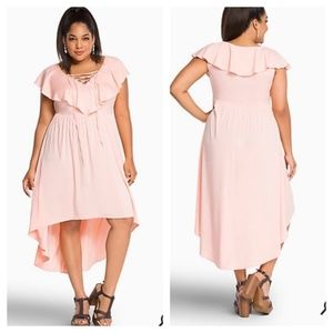 Torrid Peach Lace Up Ruffle High Low Dress 22